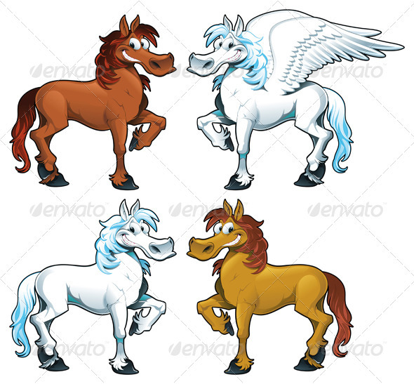 GraphicRiver Family of horses & 1 Pegasus 1149902