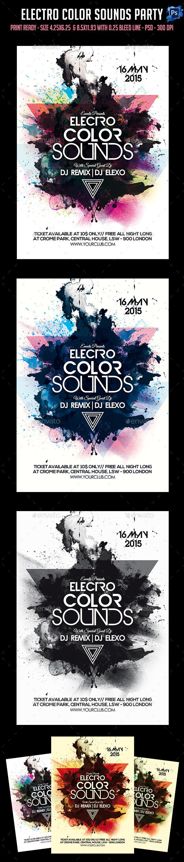 GraphicRiver Electro Color Sounds Party Flyer 11405810