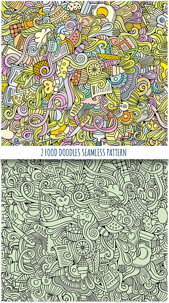 GraphicRiver 2 Food Doodles Seamless Pattern 11459888