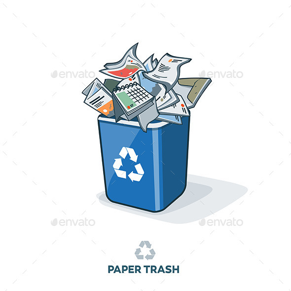 GraphicRiver Paper Trash in Recycling Bin 11460187