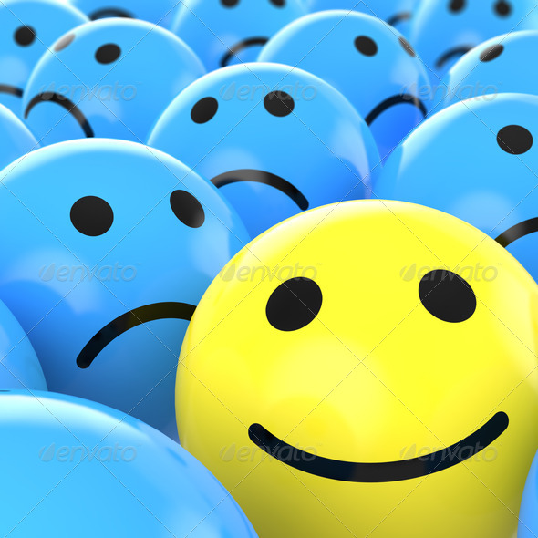 Stock Photo - PhotoDune close up happy smiley beteen sad ones 1150532