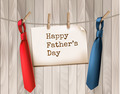 Happy Father's Day Background With A Two Ties On Wooden Backdrop. - PhotoDune Item for Sale