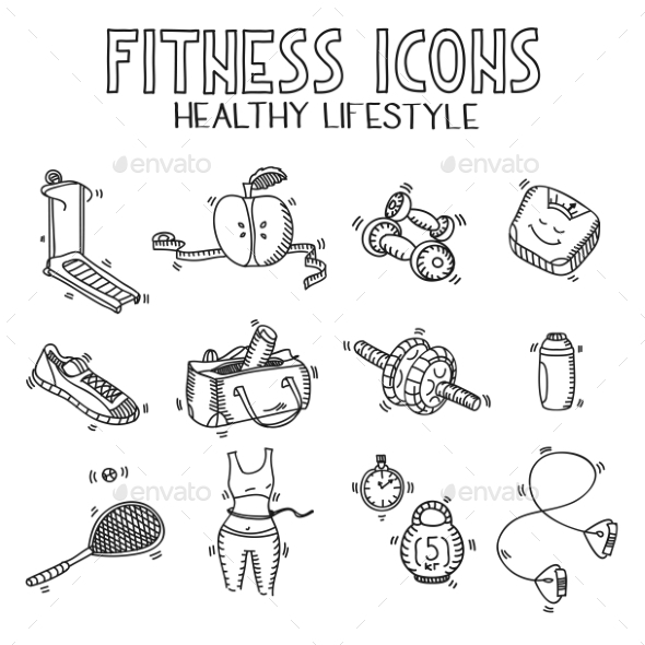 GraphicRiver Hand Drawn Fitness Set 11460884