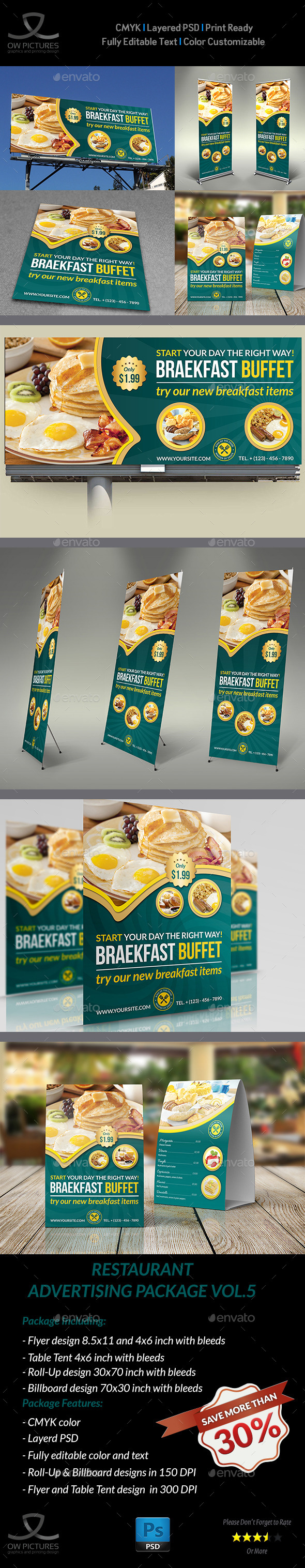 GraphicRiver Restaurant Advertising Bundle Vol.5 11461306