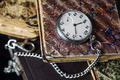 Old books and  pocket watch - PhotoDune Item for Sale