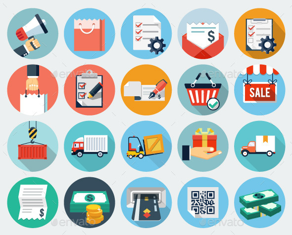 GraphicRiver Ecommerce and Logistics Flat Icons 11461704