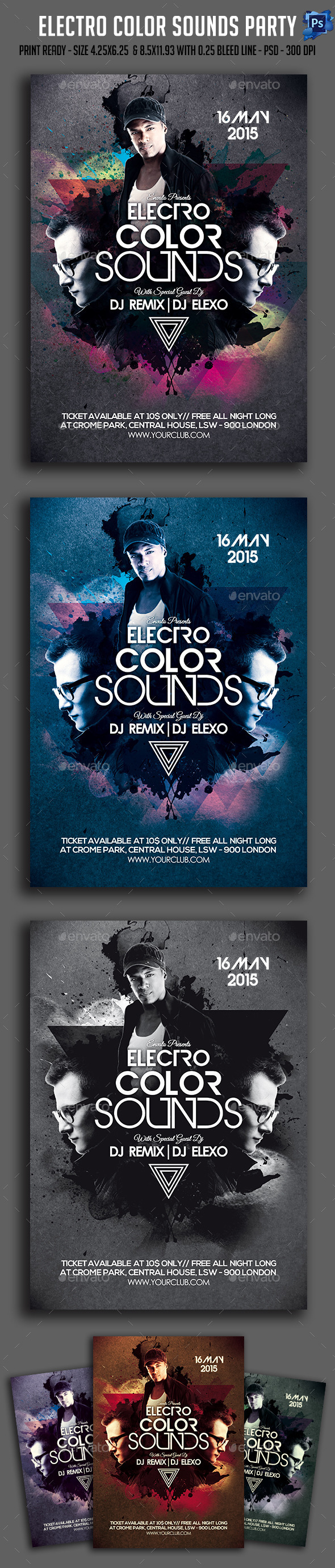 GraphicRiver Electro Color Sounds Party Flyer 11407941
