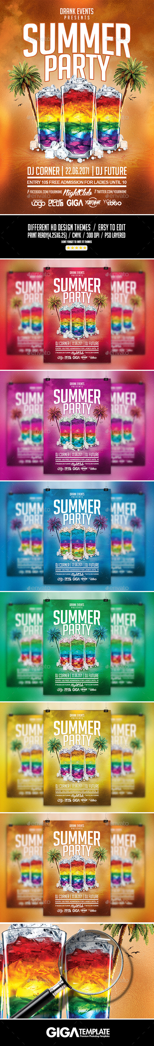 GraphicRiver Summer Party Cocktail Night Flyer PSD Template 11462459