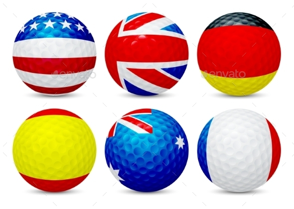 GraphicRiver Golf Balls Set with Flags 11463062