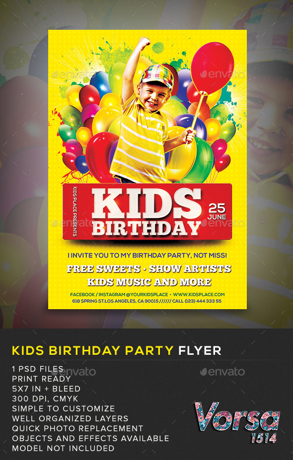 GraphicRiver Birthday Kids Party Flyer 11410696