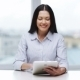 Smiling Business Woman With Tablet Pc In Office - VideoHive Item for Sale