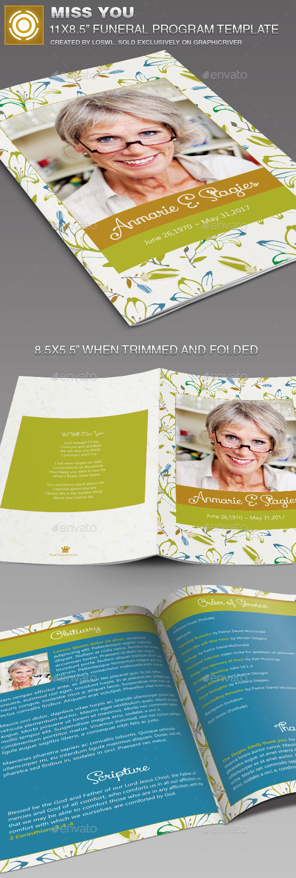 GraphicRiver Miss You Funeral Program Template 11465631