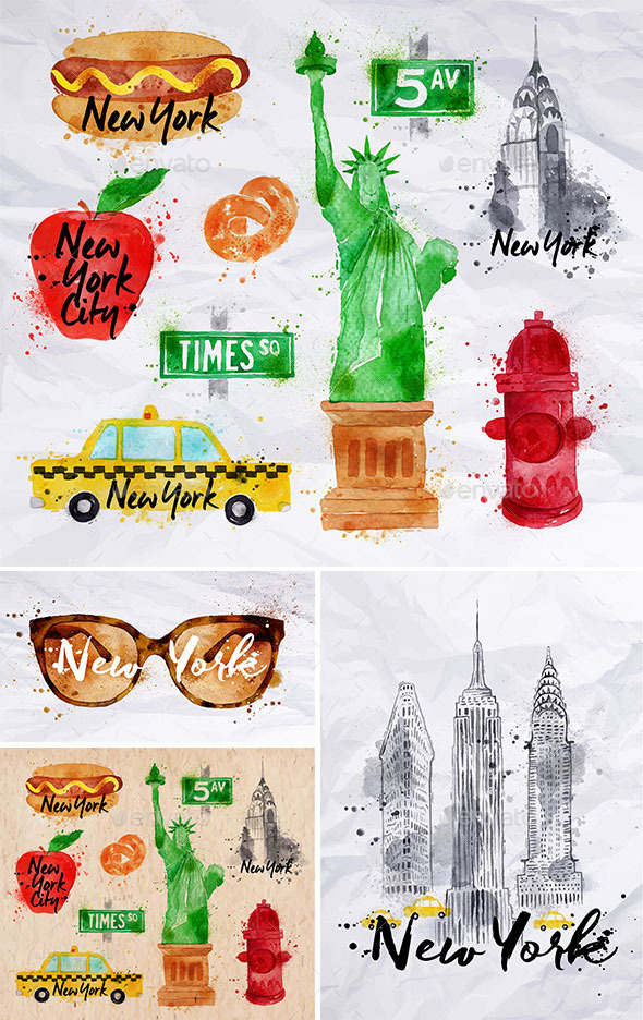 GraphicRiver New York Watercolor Symbols 11465794