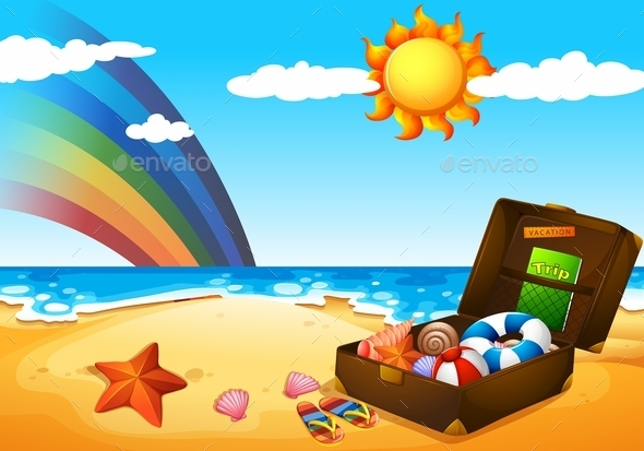 GraphicRiver A Beach Under the Sky with Rainbow and Bright Sun 11466891