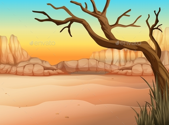 GraphicRiver A Desert with a Tree Without Leaves 11468039