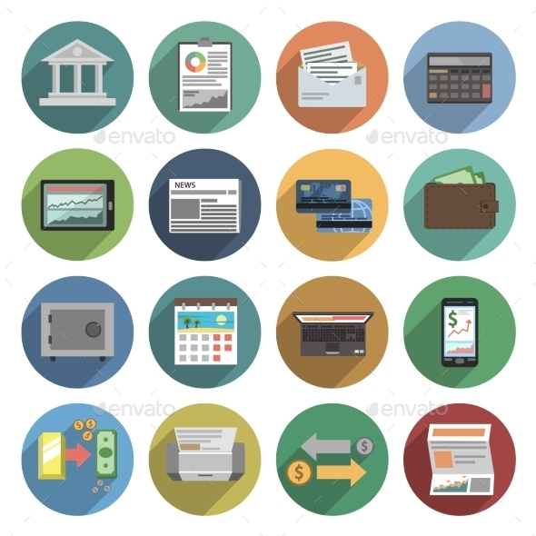 GraphicRiver Bank Icons Flat Set 11468206
