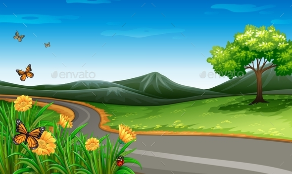 GraphicRiver A Narrow Road Under the Clear Blue Sky 11468211