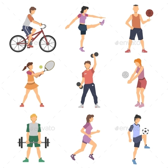 GraphicRiver Sport People Flat Icons Set 11468223