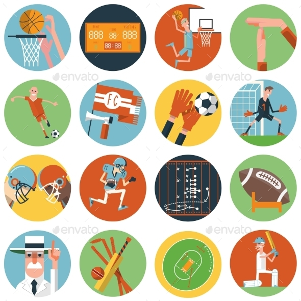GraphicRiver Team Sport Icons Set Flat 11468243