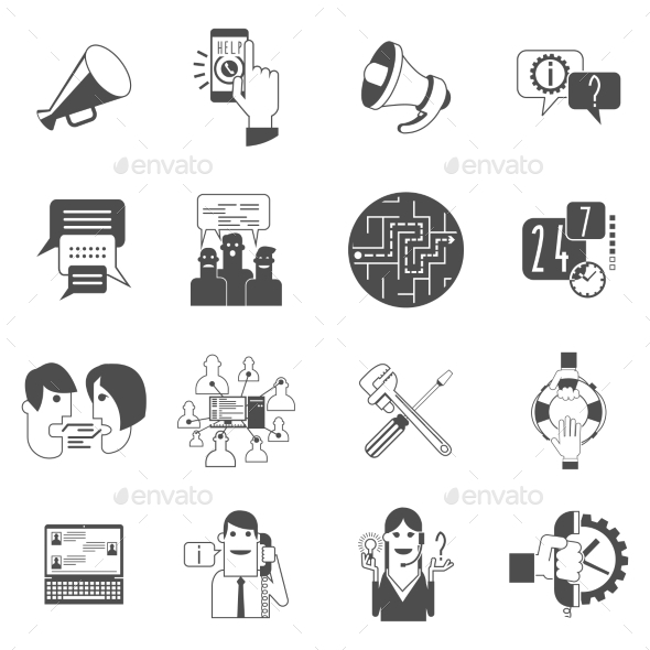 GraphicRiver Internet Forums Concept Icons Set Black 11468244