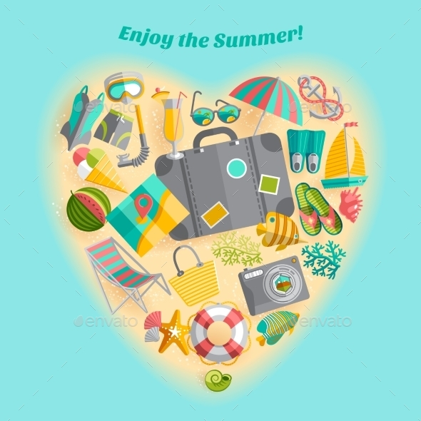 GraphicRiver Summer Vacation Heart Composition Icon Poster 11468247