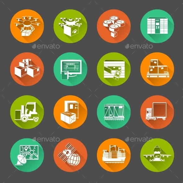 GraphicRiver New Logistics Flat Circle Icons Set 11468253