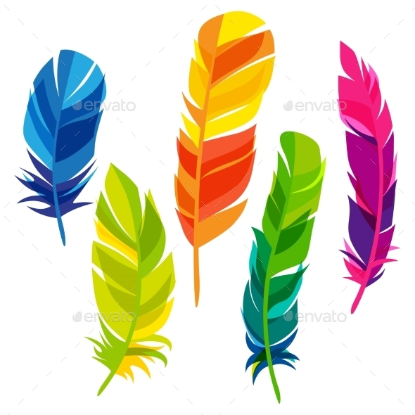 GraphicRiver Set Of Abstract Bright Transparent Feathers 11468284