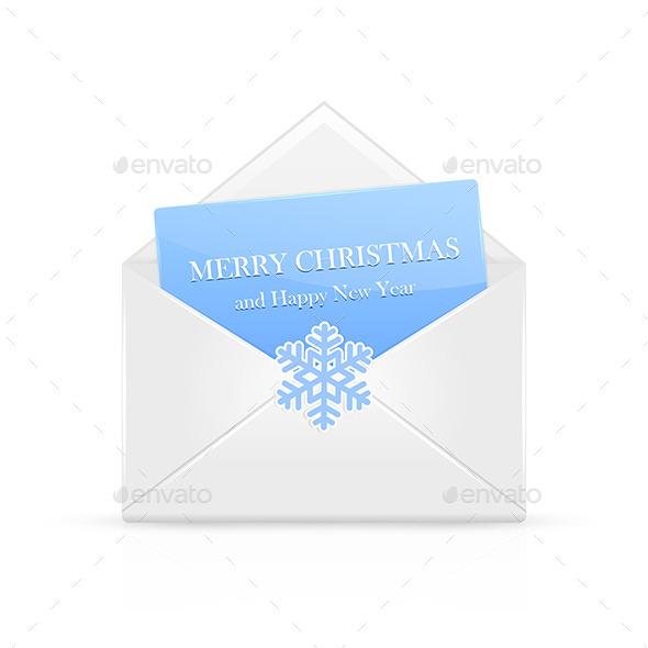 GraphicRiver Open Christmas Envelope with Snowflake 11468322
