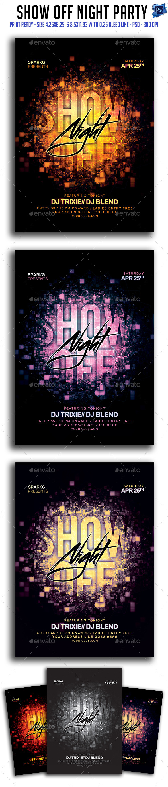 GraphicRiver Show Off Night Party Flyer 11468344