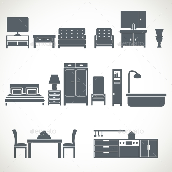 GraphicRiver Home Furniture Design Blackicons Set 11468346