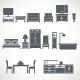 Home Furniture Design Blackicons Set - GraphicRiver Item for Sale