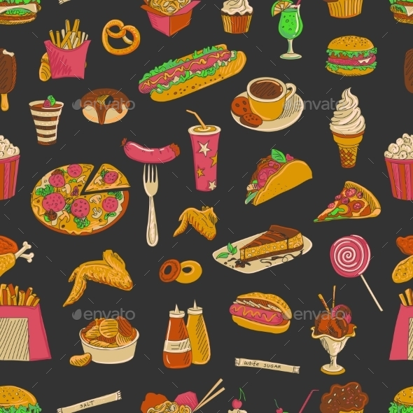 GraphicRiver Colored Hand Drawn Fast Food Pattern 11468373