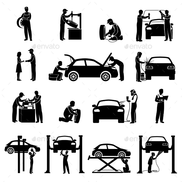 GraphicRiver Mechanic Icons Black 11468376
