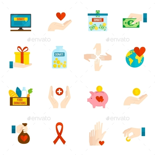 GraphicRiver Charity Icons Flat Set 11468494