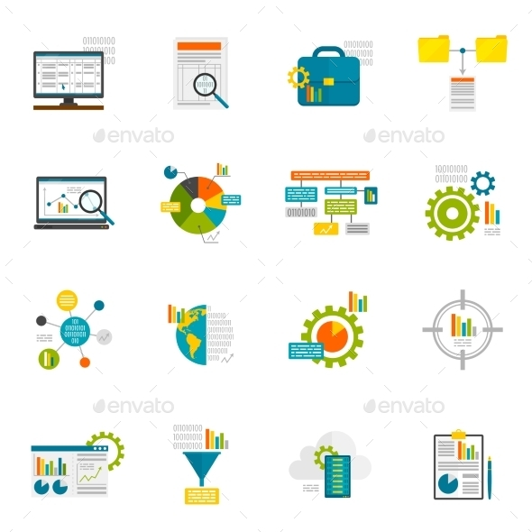 GraphicRiver Data Analytics Flat Icons 11468497