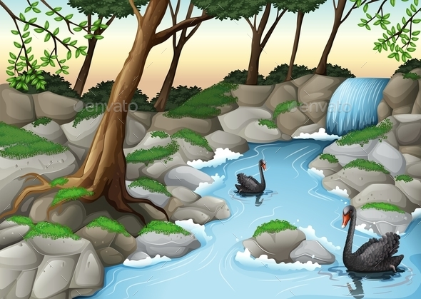 GraphicRiver A Forest with Swans 11468510