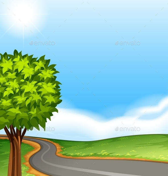 GraphicRiver A Tree Along the Road 11468513