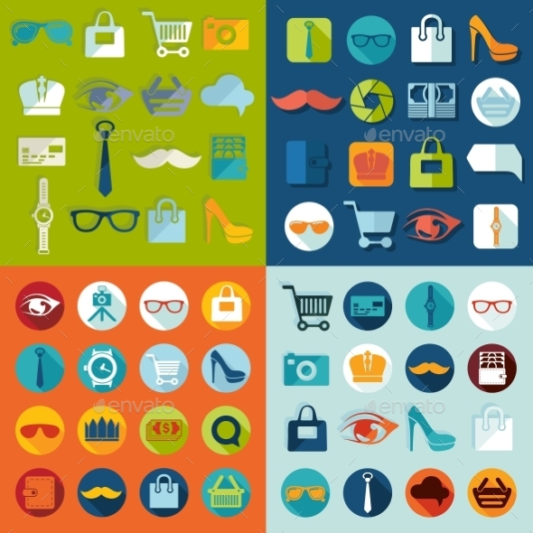 GraphicRiver Set Of Fashion Flat Icons 11468551