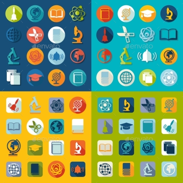 GraphicRiver Set Of Education Flat Icons 11468553