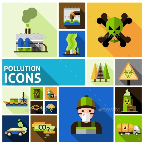 GraphicRiver Pollution Icons Set 11468693