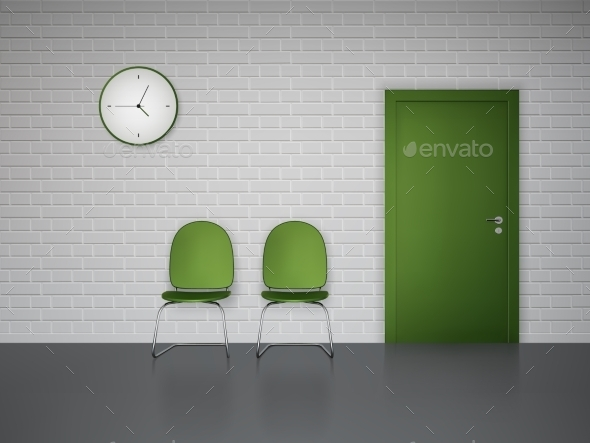 GraphicRiver Waiting Interior With Clock And Chairs 11468723