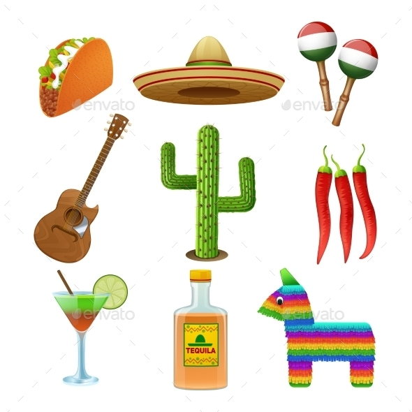 GraphicRiver Mexican Icons Set Flat 11468728