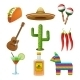 Mexican Icons Set Flat - GraphicRiver Item for Sale