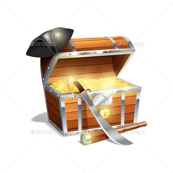 GraphicRiver Pirate Treasure Chest Illustration 11468732