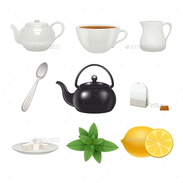 GraphicRiver Tea Set Icons Collection 11468738