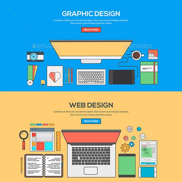 GraphicRiver Set of Flat Line Banner Design 11468742
