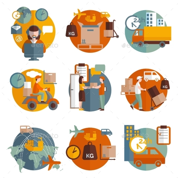 GraphicRiver Logistics Concept Icons Set 11468757