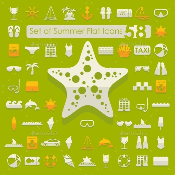 GraphicRiver Set Of Summer Flat Icons 11468798
