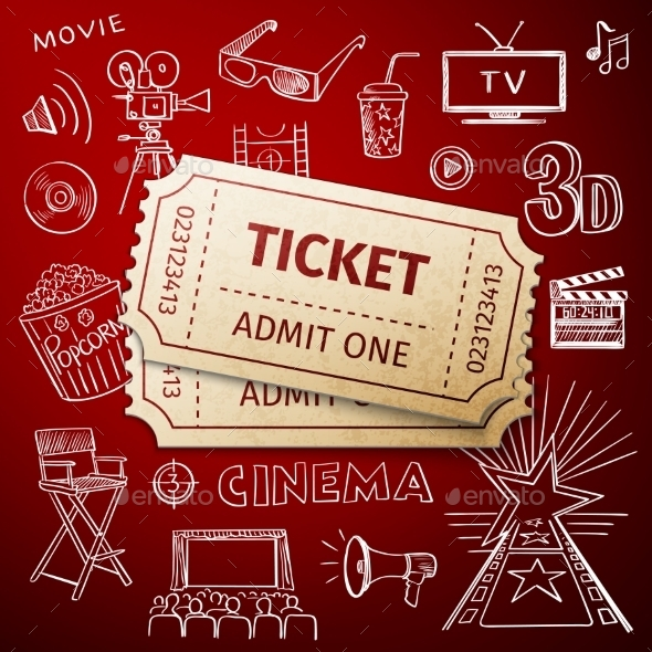GraphicRiver Two Tickets And Hand Draw Cinema Icon 11468817