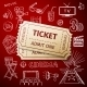 Two Tickets And Hand Draw Cinema Icon - GraphicRiver Item for Sale